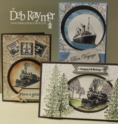 Stamps from Stampin' Up! Traveler, World Map Lovely as a tree, Card with trees was cased from Ann Schach