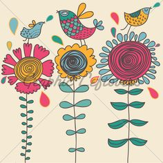 stylized doodle flowers and birds