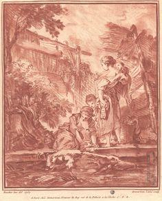 Deux villageoises dans un paysage : l'une agenouillée, s'appuie sur ses mains ; l'autre, debout, porte un enfant sur ses bras, un autre est à ses pieds - Boucher inv. del 1767 (b. g.) ; A Paris chez Demarteau, #gaveur du Roy ruë de la Pelterie a la Cloche #numelyo #sanguine #color #couleur #rouge
