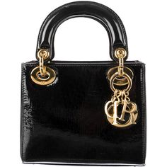 Pre-Owned Christian Dior Black Patent Bag - Small Cannage Leather Mini... ($999) ❤ liked on Polyvore