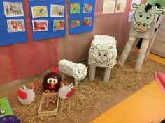 Üç boyutlu çiftlik hayvanları Farm Animals Preschool, Farm Animal Crafts, Preschool Arts And Crafts, Bible School Crafts, Farm Crafts, Animal Projects, Crafts For Kids, Farm Themed Party, Farm Party