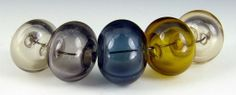 "Lampwork Bead set ""Utah"" 5 hollow beads, earth tones"