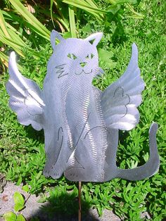 Angel Cat Kitty Feline Metal Lawn Ornament Outdoor Decor Steel Yard Art Plant…