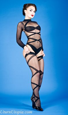 Black 2 Piece Opaque Sheer Criss Cross Body Suit W/ Thighs [CR-965] - $34.99 : Uturn Utopia, Retro footwear, Rockabilly Shoes, Vintage Inspired Clothing, jewelry, Steampunk