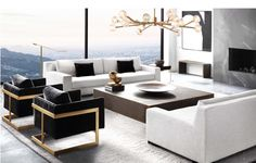 Paying attention to the details of the design is essential in creating a luxury living room interior. Living Room Modern, Living Room Interior, Home Living Room, Home Interior Design, Living Room Designs, Living Room Decor, Small Living, Black And White Living Room, Black White