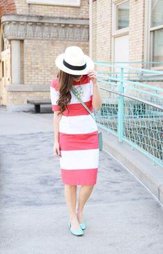 Modest capri dress coral with mint - cute! http://www.amazon.com/gp/product/0895558009/ref=as_li_ss_tl?ie=UTF8&camp=1789&creative=390957&creativeASIN=0895558009&linkCode=as2&tag=collehammo-20