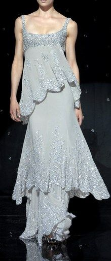 ELIE SAAB Fall 2007 Collection | tiered gray dress
