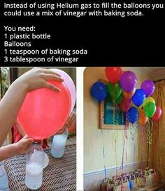 15 Creative Ideas for DIY Birthday Party Decor Use Vinegar And Baking Soda To Make Floating Balloons balloons diy diy ideas party decor easy diy how to party ideas interesting party decorations tips life hacks life hack good to know by evelyn games Helium Gas, Floating Balloons, Helium For Balloons, Blowing Up Balloons, Simple Life Hacks, Summer Life Hacks, Kid Life Hacks, 1000 Life Hacks, Ideas Party
