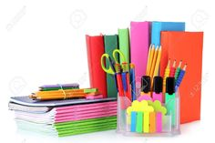 bright stationery and books isolated on white 1st Day Of School, Too Cool For School, Back To School, Stationary For School, School Stationery, Stationery Store, Stationery Items, Cute School Supplies, Office Supplies