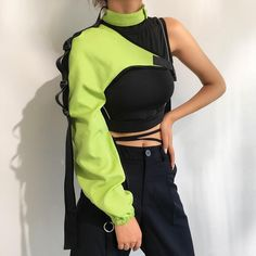 Product Details:- Polyester & Elastane Popper Neck Closure Clip Fastening Cross Strap Elasticated Cuffs One Size Punk Outfits, Cochella Outfits, Stage Outfits, Korean Outfits, Grunge Outfits, Dance Outfits, Girl Outfits, Neon Green Outfits, Goth Outfit