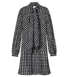 ShopBazaar Oscar de la Renta Naïve Grid Print Stretch Silk Dress MAIN