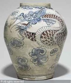 korean art choson | Dragon Jar sold by Christie's, New York, on Wednesday, March 23, 2011