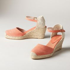 "SUEDE ANKLE STRAP ESPADRILLES -- Made in Spain, these stepping-out espadrilles are made to authentic Spanish specs, adding a velvety suede toe and ankle strap to the traditional canvas heel cup, stitched toe and 2"" jute wedge with rubber sole. Euro whole sizes 36 to 41. 36 (US 6), 37 (US 7), 38 (US 8), 39 (US 9) 40 (US 10), 41 (US 11)."