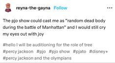 Crying My Eyes Out, Olympians, Percy Jackson, It Cast