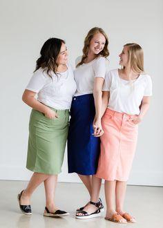 2fdae841 Modest Women's Below The Knee Remi Cobalt Blue Denim Skirt – Inherit Co.