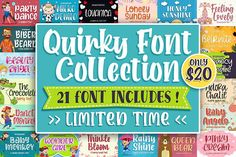 QUIRKY FONT COLLECTION #beauty #girly #cute #sweet #display #wedding #feminine #beautiful #playful #craft