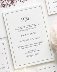 Bordered Letterpress Wedding Invitations