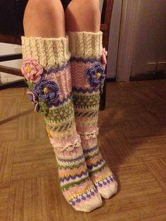 Ravelry: Project Gallery for Anelmaiset pattern by Anelma Kervinen Crochet Socks Pattern, Crochet Shoes, Knit Crochet, Comfy Socks, Funky Socks, 4th Of July Nails, Knee High Socks, Knitting For Beginners, Knitting Socks
