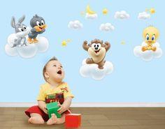 Wandtattoo Baby Looney Tunes auf Wolken