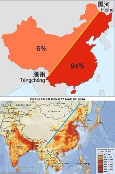 This map here shows the density of population in Asian, focus more on China. The line going through the country is the Heihe-Tengchong line, showing that of the Chinese population lives east of this line. China Map, Pr China, Human Geography, India Map, Asian History, Old Maps, Historical Maps, City Maps, World History