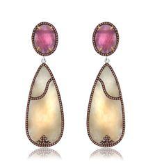 66.66 Ct Yellow Slice Sapphire & Diamond 18K Gold & Sterling Drop Earrings #jpjewels8 #DropDangle #Party