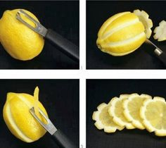 10 easy party hacks. Lots of cute and easy ideas to make your party just alittle better! Ex. Using a potatoe peeler, cut sides and voila, beautiful little lemon flowers:)
