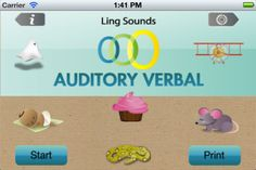 his app is designed for therapists to use as an engaging, quick auditory comprehension check in therapy sessions but may also be used for home practice by parents or individuals who have hearing aids or cochlear implants. The flashcards depict the 6 Ling sounds (and silence) which represent the range of speech sounds across low to high frequencies.
