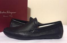 Salvatore Ferragamo Pacifico Driver Black Leather Men's Lowfers Shoes 7, 11.5 M #SalvatoreFerragamo #DriverLoafersFlatsSlipOn