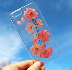 Hand Selected Natural Dried Pressed Flowers Handmade on iPhone 5 5s Crystal Clear Case: Pink Blossom Flower