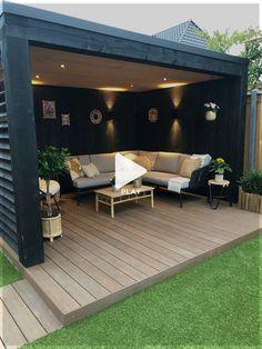 Terrace Garden Design, Back Garden Design, Small Backyard Design, Small Backyard Landscaping, Backyard Pools, Garden Veranda Ideas, Modern Garden Design, Backyard Seating, Outdoor Pergola