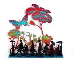 Uri Dushy - Works of Art - Wall Sculptures: Spring Time Metal Wall Sculpture, Wall Sculptures, Metal Wall Decor, Metal Wall Art, Metallic Paint, Hand Painted, Painted Metal, Spring Time, Saatchi Art
