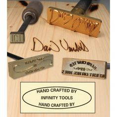 Custom Made Branding Irons - 1 or 2 Lines of Text with Tool Motif - Branding Irons - Shop Essentials Woodworking Hand Tools, Woodworking Logo, Cool Woodworking Projects, Woodworking Classes, Woodworking Techniques, Popular Woodworking, Woodworking Furniture, Woodworking Plans, Wood Furniture