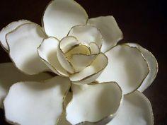 gilded gardenia- plaster over fake flower, gold sharpie Fondant Flowers, Sugar Flowers, Fake Flowers, Gardenia Wedding, Wedding Flowers, Gold Sharpie, Arts And Crafts, Diy Crafts, Crazy Cakes