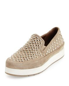 Mickey+Studded+Suede+Sneaker,+Taupe+by+Donald+J+Pliner+at+Neiman+Marcus.