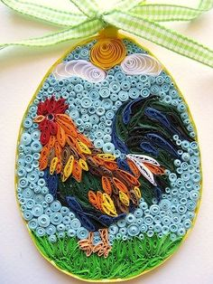 Gorgeous Quilled Rooster - by: Quilling Art community-http://www.facebook.com/pages/Quilling-art/390448091021888
