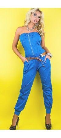 Long blue overalls + belt