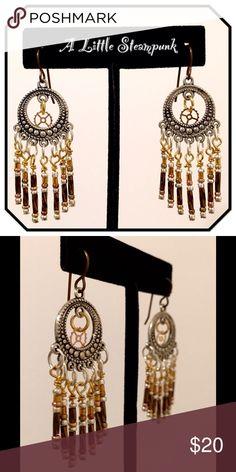"""Steampunk Earrings Mixed metal earrings dangle 2"""" long. French wires. Steampunk Grandma Jewelry Earrings"""