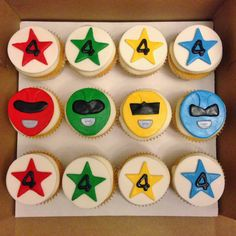 Cakes by Mindy: Power Ranger Cupcakes Power Ranger Party, Power Ranger Pinata, Power Ranger Cupcakes, Power Ranger Birthday, Happy 7th Birthday, My Son Birthday, Summer Birthday, 3rd Birthday Parties, Power Rangers