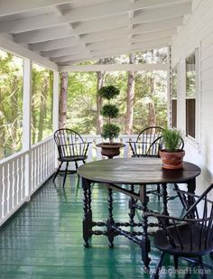turqoise floor, white everything else. love it! Beautiful Porch with Stunning Turquoise Floor....