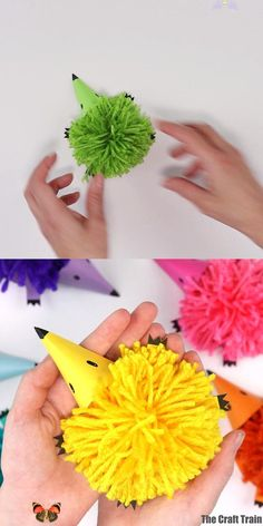 pom pom hedgehog craft  <br> Cute and easy pom pom hedgehog craft for kids with a free printable template. Make an array of soft and fluffy rainbow hedgehogs Mothers Day Crafts For Kids, Animal Crafts For Kids, Summer Crafts For Kids, Craft Activities For Kids, Toddler Crafts, Preschool Crafts, Kids Crafts, Art For Kids, Diy Toys For Toddlers