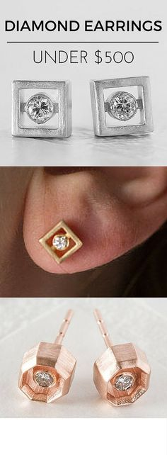 This jewelry designer has amazing diamond earrings using repurposed vintage diamonds for under $500! She has modern, minimalist, edgy and chic designs. Totally unique diamond earrings using recycled gold and recycled stones. Great for the environment. Check them out!