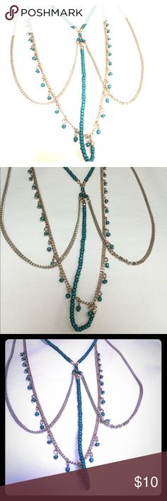 Selling this Layered turquoise beaded gold tone long necklace on Poshmark! My username is: funfashionfun. #shopmycloset #poshmark #fashion #shopping #style #forsale #Jewelry