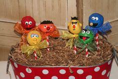Mom's Killer Cakes & Cookies Sesame Street Inspired Cake Pops Mixed Dozen Oscar the Grouch, Elmo, Cookie Monster and More. $42.50, via Etsy.