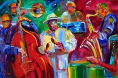 """Artists Of Texas Contemporary Paintings and Art - """"Salsa"""" Original Jazz Musicians Abstract Oil Painting Music Art Salsa Art by Texas Artist Debra Hurd"""