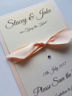Peach and ivory wedding save the date idea