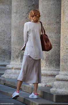 midi skirt + adidas white sneakers