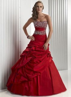 2012 Discount Strapless Red Pleated Satin A-line Puffy Prom Gown(TSPG-011)
