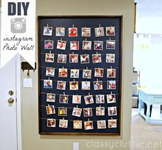 Print your instagram photos and display them on this super cute and easy DIY Instagram Photo wall Display!