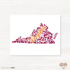 This is a fun Virginia print using maroon and orange colors! This is a great gift for any collegiate student or fan! Please Note: This print is