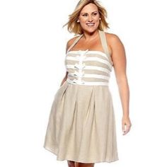 Jessica Simpson Linen Halter Dress Adorable light dress perfect for the summer season. Lined. Excellent pre-loved condition. Some barely there wear to corners of chest area (3rd photo). Offers welcome through offer tab. No trades. 1516161101 Jessica Simpson Dresses